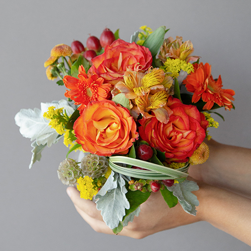 Orange Themed Event Decorative Flower Arrangement