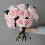 Perfect Pink Garden Wholesale Rose Bunch in a hand