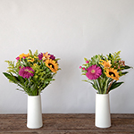 Hot Pink, Orange and Yellow Flower Bridal Centerpieces