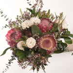 Close up pink and white valentines flower bouquet
