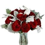 Red Garden Rose and Dusty Miller DIY wedding flowers in vases