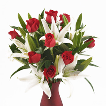 Red Roses with Lilies Valentine's Day Bouquet
