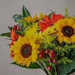 Sunflowers and Orange Flowers Bridal Centerpieces