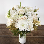 white flower centerpiece with white roses and gold flowers