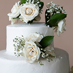 White Rose Cake Flower on top tier