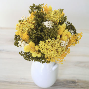 Happy Thoughts Dried Yellow Flower Centerpiece