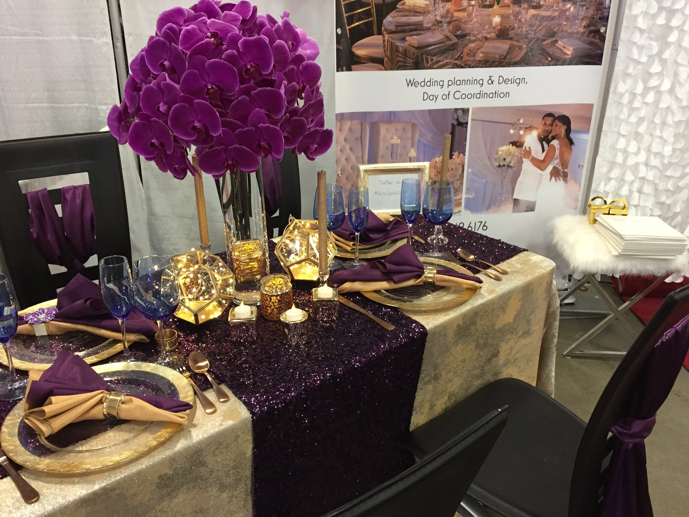 Purple And Gold Wedding.Fiftyflowers Review Gorgeous Purple Gold Table Design