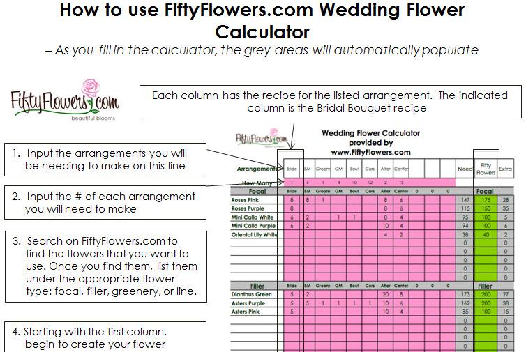 Wedding Flower Recipe Worksheet Fiftyflowers